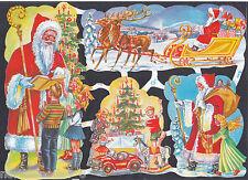 SANTA CHRISTMAS  SCENE SCRAP SNOW GERMANY WINTER EMBOSSED CUTOUT DECORATE CRAFT