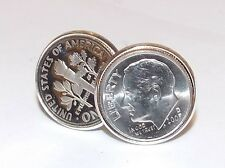 14th Ivory Wedding Anniversary 2004 American dime coin cufflinks - Great Gift