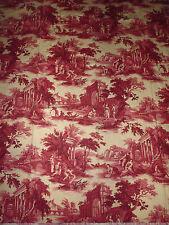 tissu textile ameublement imprimé toile de jouy rouge scene de vie ancienne / C