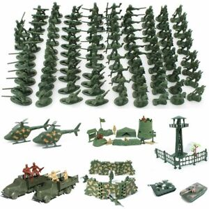 Children Military Toy 12 Poses Plastic Soldiers Army Men Figures Aircraft Tanks