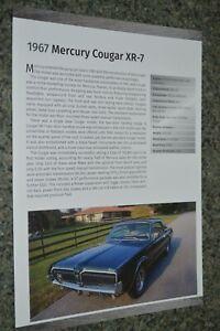 ★★1967 MERCURY COUGAR XR7 INFO SPEC SHEET PHOTO FEATURE PRINT 67 XR-7★★4