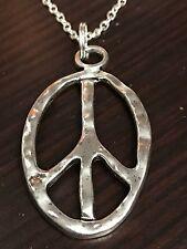 "60's Boho Peace Sign Jagged Edge Retro Tibetan Silver Mix C Charm Necklace 18"""