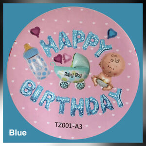 New Happy Birthday Foil Balloon Letters Figures Baby Boy Blue First Birthday