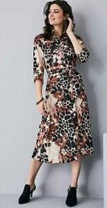 BNWT Kaleidoscope Animal Print Button Through Shirt Midi Dress Multi Size UK 16