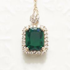 Green Emerald Round Diamond Halo Pendant Necklace 14K Gold Plated Jewelry YE13
