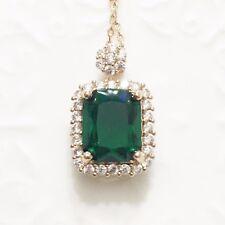 Green Emerald 1 Ct Diamond Halo Pendant Necklace 14K Gold Plated Jewelry YE13