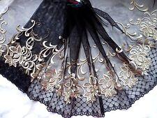 "1Y~9.5""~Black~Gold Lace Trim Embroidered Flower Bunch Dress Bridal Wedding Doll"
