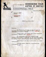 """PARIS (XI°) ACCESSOIRES pour AUTOMOBILE & MOTO  """"LIGECO"""" en 1957"""