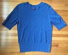 Women's Short Sleeve PENDLETON Sweater Shirt, Blue Small