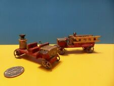 Antique Dollhouse Miniature Erzgebridge Putz Fire Trucks Signed Germany 1800's