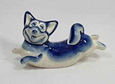 Russian Gzhel porcelain figurine of a Dog - CORGI #0195