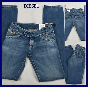 diesel jeans da donna pantaloni nuovi a vita bassa gamba dritta vintage w25 39