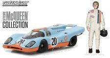 1:43 Greenlight Gulf Oil 1970 Porsche 917K #20 with S. McQueen Figurine GL86435