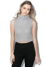 MINKPINK Brand Grey Chunky Knit BY THE FIRE Top Size S BNWT #SW25