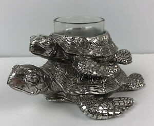 Yankee Candle Mom & Baby Turtle Silver Metal Votive Candle Holder Retired