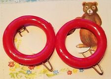 Vintage Hair Barrettes - Bright Red Round Barrettes, Made in England