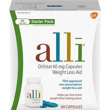 Brand New Alli Diet Orlistat 60 mg Weight Loss Pills, Starter Pack, 60 Ct