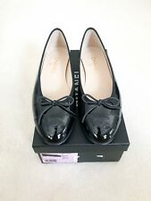 Chanel classic logo cap toe Ballet Ballerina Flats in Black patent leather