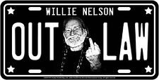 Willie Nelson Metal License Plate Outlaw Bird Middle Finger Weed Pot  Country
