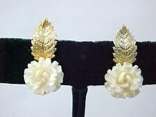 Vintage STAR ART 12K G.F. Screw Back Earrings Faux Ivory Gold Filled on Sterling