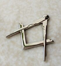 Masonic Master Mason Square & Compass Cut Out Car Auto Emblem Silver Metal