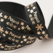 Metallic Gold Prosecco HO HO HO Berisfords 15mm Black Satin Christmas Ribbon