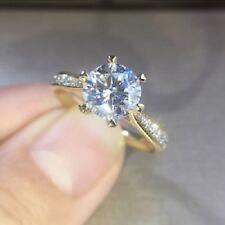 Round Diamond Bridal Engagement Ring 14K Yellow Gold Finish Solitaire