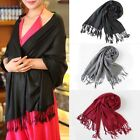 Women Winter Warm Soft Cashmere Silk Solid Long Pashmina Shawl Wrap Scarf