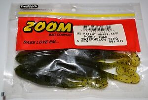 "ZOOM HORNY TOAD frog weedless plastic 4.5"" Watermelon Seed bass fishing"