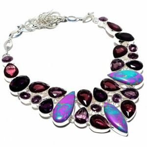 """Purple Turquoise & Amethyst 925 Sterling Silver Jewelry Necklace 16-18"""" F251"""