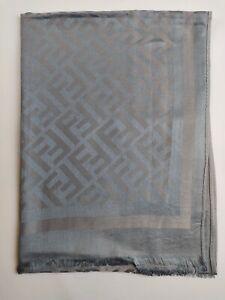 FENDI Genuine vintage Grey 100% wool Silk Effect Large wrap shawl scarve