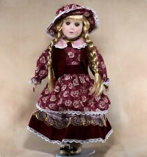 """Collector's Porcelain Girl Doll 15.5"""" Blond Hair In Braids Brown Eyes"""