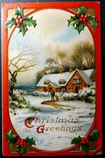 Postcard Beautiful Christmas Greetings - Snowy Country House Scene Holly