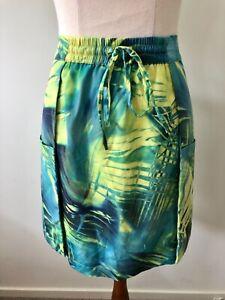 Piper Size 12 Green Yellow Elastic Drawstring Short Straight Leaf Print Skirt