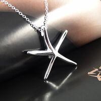 Pretty Lady Silver Starfish Pendant Necklace Elegant Lady Jewelry Gift EY896
