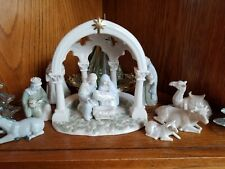 Porcelain Nativity Grasslands Roads Holy Family Wisemen Animals & Creche Boxed