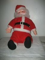 Vintage Santa Plush Plastic Face 33'' Musical Merry Christmas battery operated