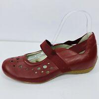 Kumfs Womens Mary Jane Comfort Flats Red Leather Orthotic Friendly Size 38 7