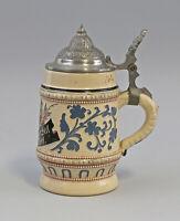 8545044 Keramik Kleiner Bierkrug Diesinger Zinndeckel Höhr/Nassau Sinnspruch