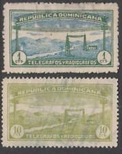 Dominican Republic Telegraph Stamps #6 #8 used 1c 10c National Issue 1920 cv $9