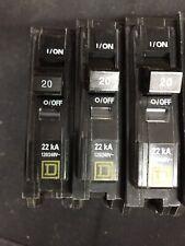 10 -Square D Qob120 Circuit Breaker 1 Pole 20 Amp 120/240V Yellow Face New