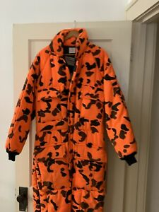"""WALLS """"BLIZZARD-PRUF"""" Orange Insulated Coveralls LARGE 42-44 Vintage Rare"""