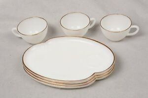 Vintage Oven Fire King White Milk Glass Snack 3 Set Plates & Cups Gold Trim Edge