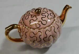 Vintage Gibson Teapot Pink  Gold Staffordshire England Great Condition  W259