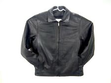 Excelled Men's Biker Jacket Black Leather Bomber Removable Lining Motocycle Sz M