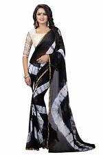 Indian Chiffon Leheriya Style Saree With Blouse Piece For Women&Girls, Multi