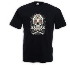 Mexican T-Shirt Floral Skull Vintage  Rockabilly Tattoo Totenkopf