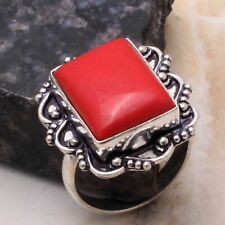 Coral Ethnic Handmade Ring Jewelry US Size-8.75 AR 19123