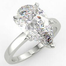 Diamond Engagement Ring 14K White Gold 2.18 Ct Pear Cut Si1/D Solitaire