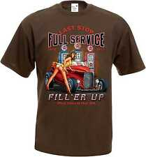 T Shirt im Schokoton V8-, Hot Rod-,US Car-& `50 Stylemotiv Full Service